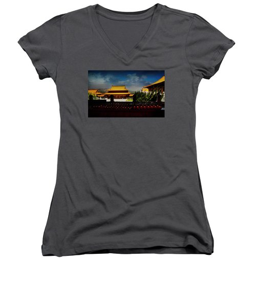 Women's V-Neck T-Shirt (Junior Cut) featuring the photograph Temple Candles by Joseph Hollingsworth