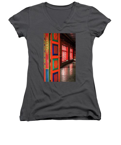Women's V-Neck T-Shirt (Junior Cut) featuring the photograph Temple Door by Alexey Stiop