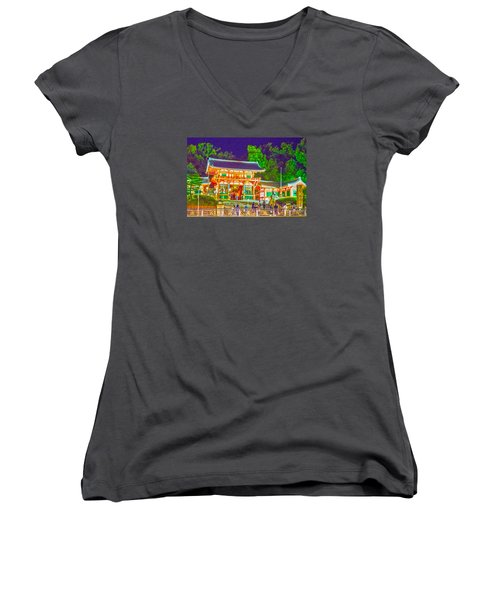 Women's V-Neck T-Shirt (Junior Cut) featuring the painting Temple In Kyoto by Pravine Chester