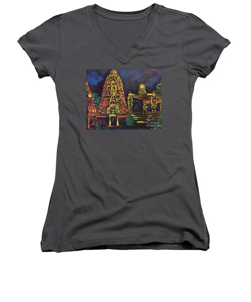 Women's V-Neck T-Shirt (Junior Cut) featuring the painting Temple Lights In The Night by Brindha Naveen