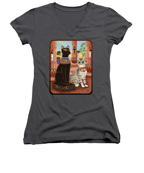 Temple Of Bastet - Bast Goddess Cat Women's V-Neck (Athletic Fit)