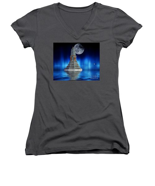 Women's V-Neck T-Shirt (Junior Cut) featuring the photograph Temple Of The Moon by Shirley Mangini