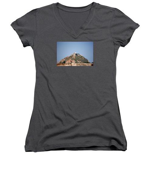 Women's V-Neck T-Shirt (Junior Cut) featuring the photograph Temple Of Zeus by Robert Moss