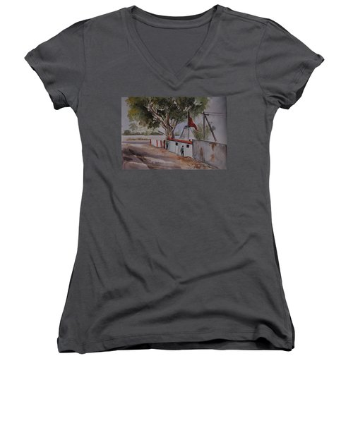 Temple Scene1 Women's V-Neck T-Shirt
