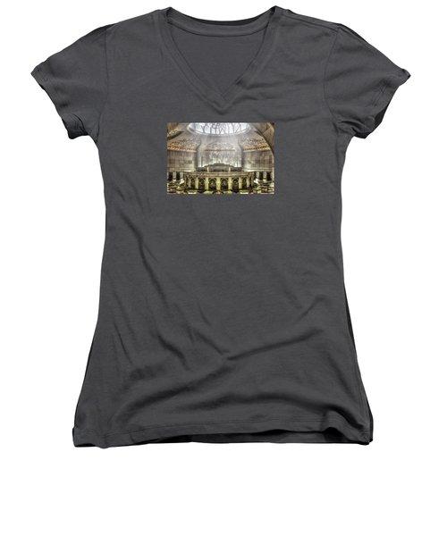 Temple Washroom Women's V-Neck T-Shirt (Junior Cut) by John Swartz