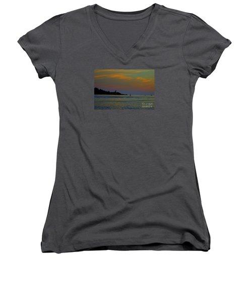 Ten Pound Light  At Dusk Women's V-Neck T-Shirt