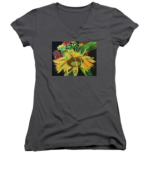 Women's V-Neck T-Shirt (Junior Cut) featuring the painting Tender Mercies by Jane Autry
