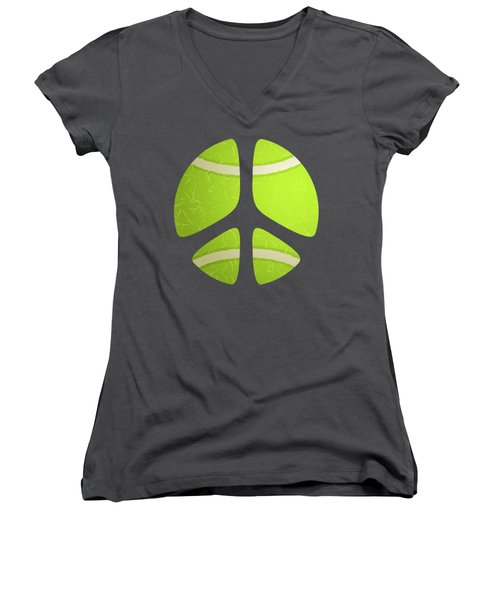 Tennis Ball Peace Sign Women's V-Neck T-Shirt (Junior Cut) by David G Paul