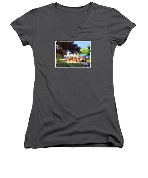 Tents And Church Steeple At Rockport Farmers Market Women's V-Neck T-Shirt