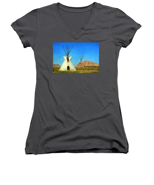 Tepee In Badlands Women's V-Neck T-Shirt