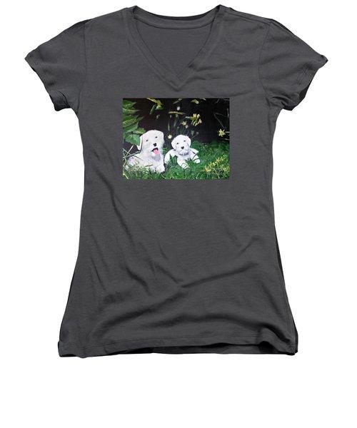 Terriers' Farm Pals. Women's V-Neck T-Shirt