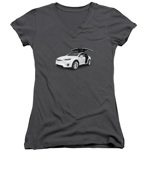 Tesla Model X Luxury Suv Electric Car With Open Falcon-wing Doors Art Photo Print Women's V-Neck T-Shirt (Junior Cut) by Oleksiy Maksymenko