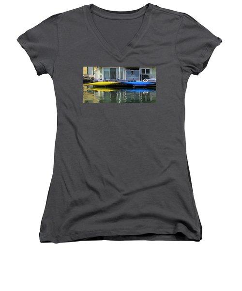 Marina Living In Victoria British Columbia 2to1 Women's V-Neck T-Shirt (Junior Cut) by Ben and Raisa Gertsberg
