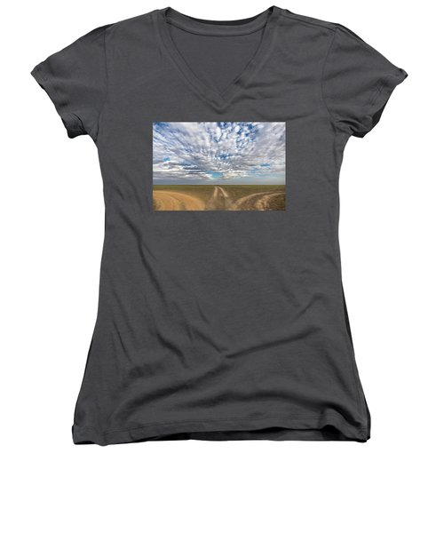 Women's V-Neck T-Shirt featuring the photograph Quo Vadis, Bayanzag, 2016 by Hitendra SINKAR
