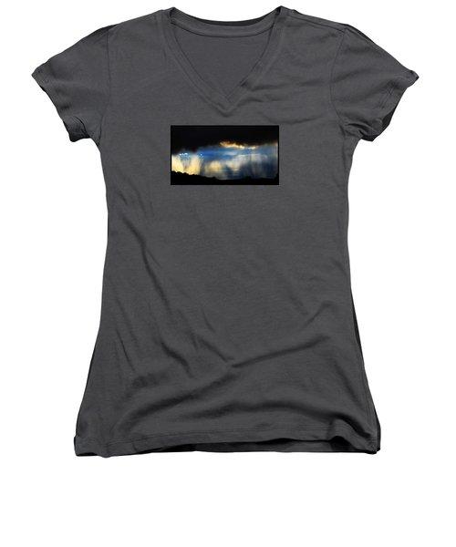 Tesuque Weather Vistas Women's V-Neck T-Shirt (Junior Cut) by Susanne Still