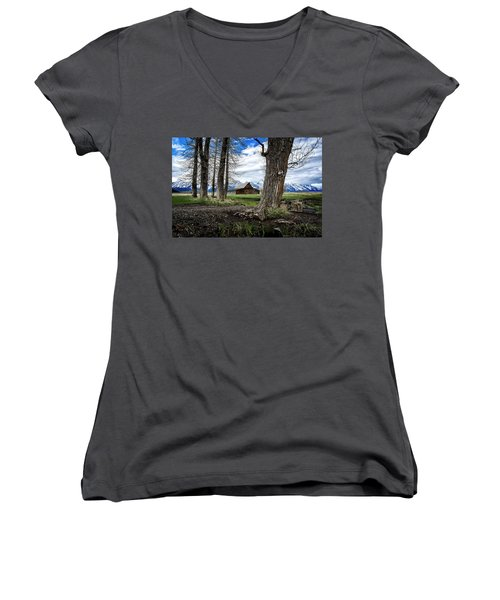 Women's V-Neck featuring the photograph View From Mormon Row by Scott Read