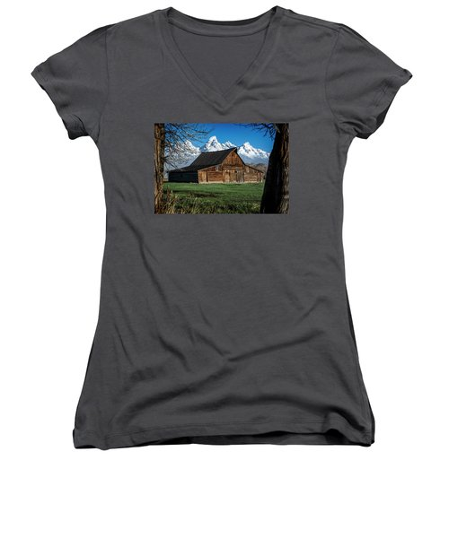 Women's V-Neck featuring the photograph Moulton Barn And Tetons by Scott Read
