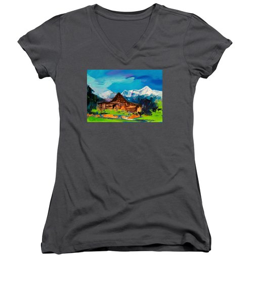 Teton Barn  Women's V-Neck (Athletic Fit)
