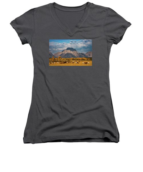 Teton Horse Ranch Women's V-Neck T-Shirt (Junior Cut) by Darren White