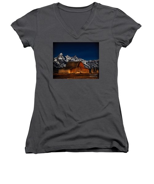 Teton Mountains With Barn Women's V-Neck (Athletic Fit)