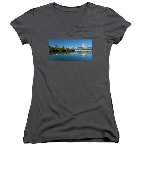 Women's V-Neck T-Shirt featuring the photograph Teton Reflections II by Gary Lengyel