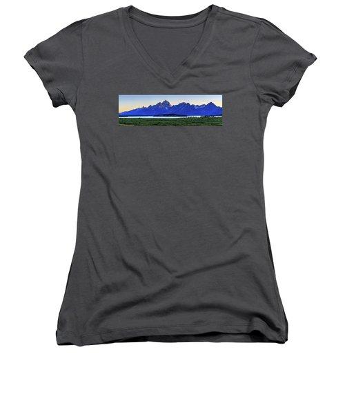 Women's V-Neck T-Shirt (Junior Cut) featuring the photograph Teton Sunset by David Chandler