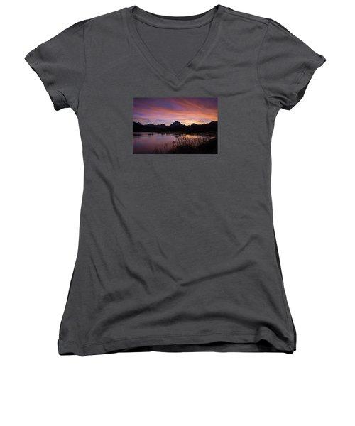 Women's V-Neck T-Shirt (Junior Cut) featuring the photograph Teton Sunset by Gary Lengyel