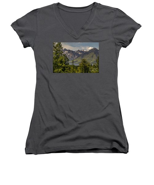 Women's V-Neck T-Shirt (Junior Cut) featuring the photograph Tetons Landscape by Sue Smith