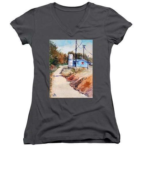 Texaco Women's V-Neck T-Shirt (Junior Cut) by Ron Stephens