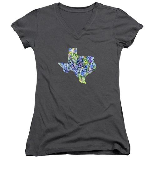 Texas Blue Texas Map On White Women's V-Neck