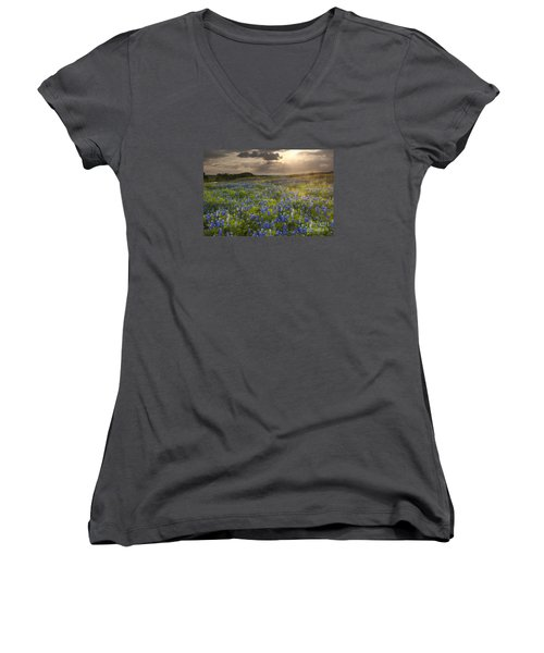 Texas Bluebonnets At Sunrise Women's V-Neck T-Shirt (Junior Cut) by Keith Kapple