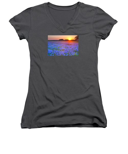 Women's V-Neck T-Shirt (Junior Cut) featuring the photograph Texas Bluebonnets by Keith Kapple