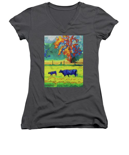 Texas Cow And Calf At Sunset Print Bertram Poole Women's V-Neck T-Shirt (Junior Cut) by Thomas Bertram POOLE
