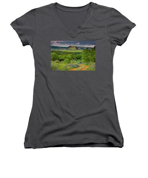 Texas Hill Country Ranch Road Women's V-Neck T-Shirt