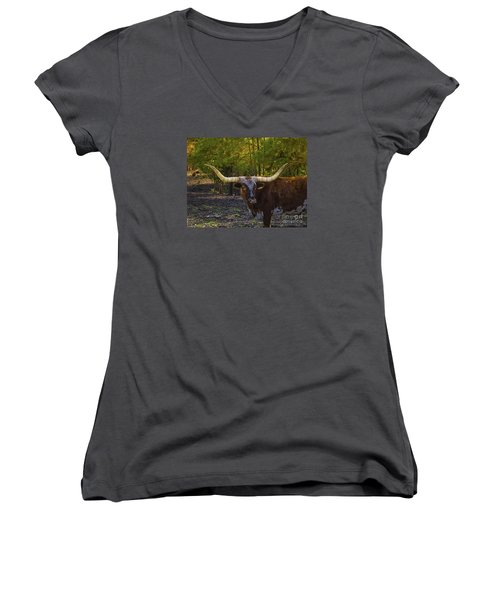 Women's V-Neck T-Shirt (Junior Cut) featuring the photograph Texas Long Horn Bull by Melissa Messick