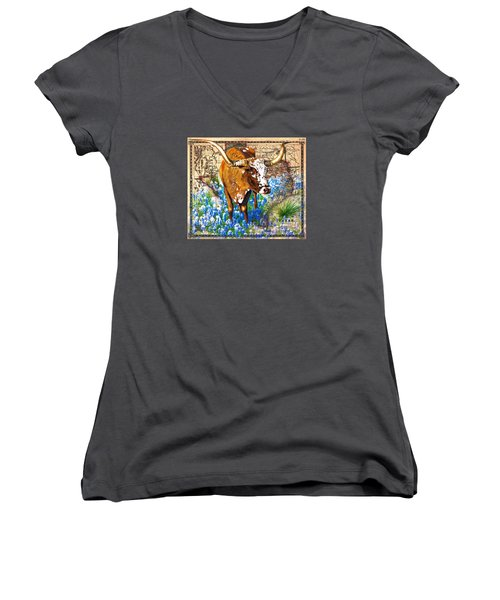 Texas Longhorn In Bluebonnets Women's V-Neck (Athletic Fit)