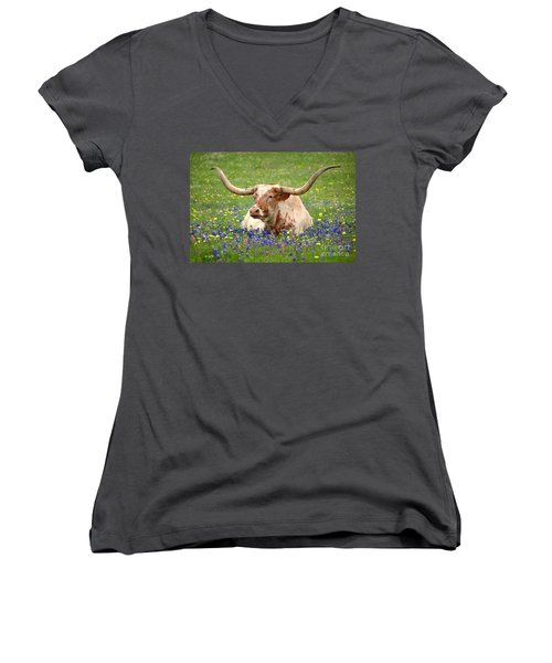 Texas Longhorn In Bluebonnets Women's V-Neck T-Shirt