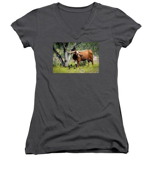 Women's V-Neck T-Shirt (Junior Cut) featuring the photograph Texas Longhorn Steer by David Morefield