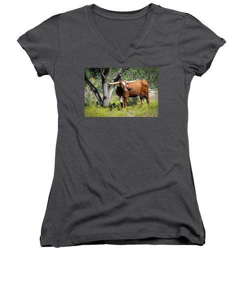 Women's V-Neck T-Shirt featuring the photograph Texas Longhorn Steer by David Morefield