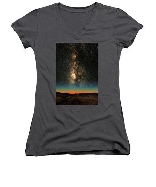 Texas Milky Way Women's V-Neck T-Shirt (Junior Cut) by Larry Landolfi