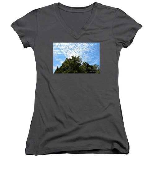Women's V-Neck T-Shirt (Junior Cut) featuring the photograph Texas Scene - Midday  by Ray Shrewsberry
