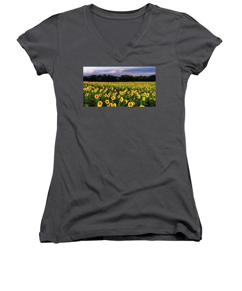 Texas Sunflowers Women's V-Neck (Athletic Fit)