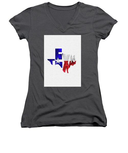 Texas Typographic Map Flag Women's V-Neck