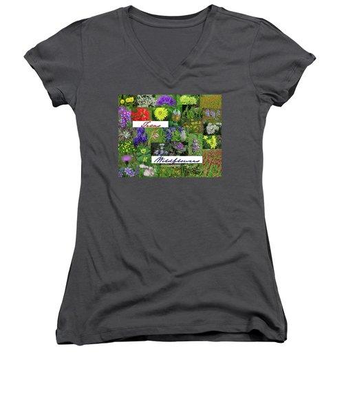 Texas Wildflower Collage Women's V-Neck T-Shirt