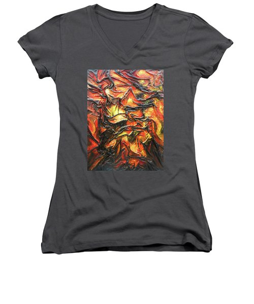 Texture Of Fire Women's V-Neck T-Shirt