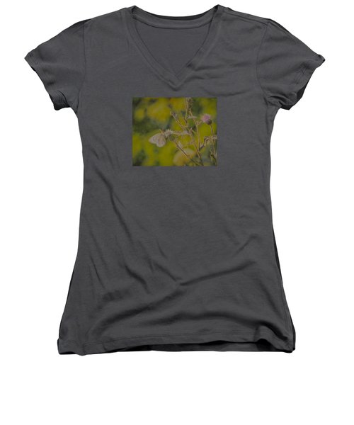 Textured Butterfly 1   Women's V-Neck T-Shirt (Junior Cut) by Leif Sohlman