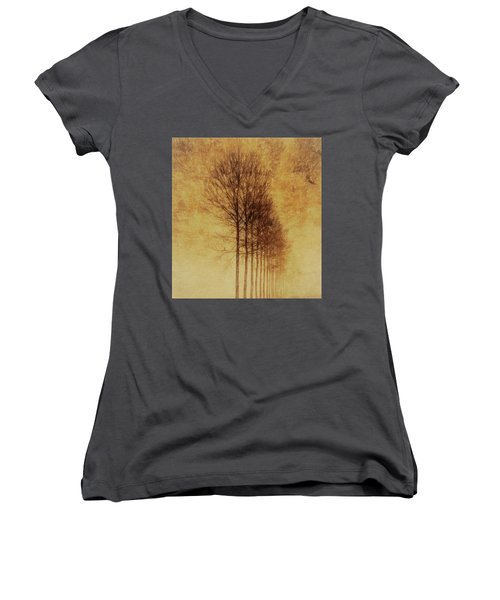 Women's V-Neck T-Shirt (Junior Cut) featuring the mixed media Textured Eerie Trees by Dan Sproul