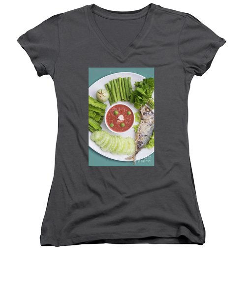 Women's V-Neck T-Shirt (Junior Cut) featuring the photograph Thai Chili Paste by Atiketta Sangasaeng