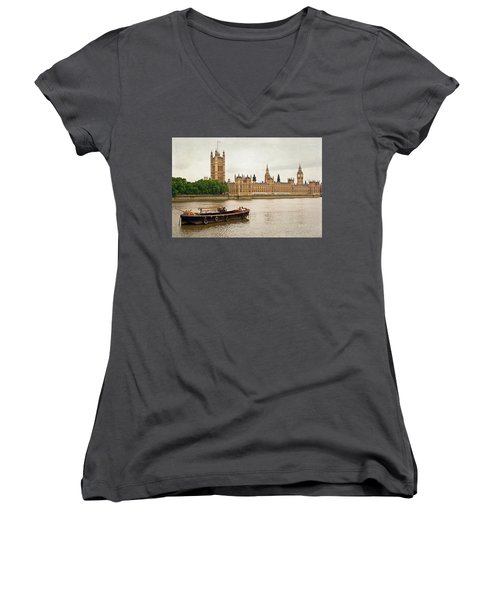 Women's V-Neck T-Shirt (Junior Cut) featuring the photograph Thames by Keith Armstrong
