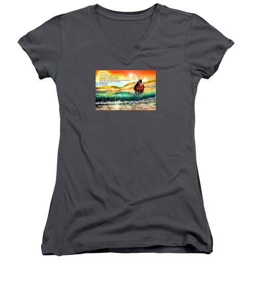 Women's V-Neck T-Shirt (Junior Cut) featuring the painting Thank You For Loving Me by Patricia L Davidson